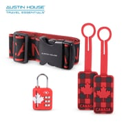 Austin House Luggage Strap, TSA Indicator Lock and 2 Rubber Luggage Tags Bundle (AHB00027)