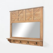 Wooden Wall Mirror With Shelf And 4 Hooks (7890-BM1864-00)