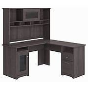 Bush Furniture Cabot L Shaped Desk with Hutch, Heather Gray (CAB001HRG)