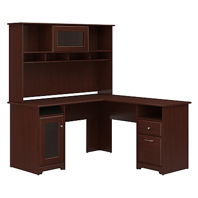 Bush Furniture Cabot L Shaped Desk with Hutch, Harvest Cherry (CAB001HVC)