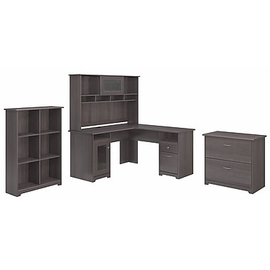 Bush Furniture Cabot L Shaped Desk with Hutch, 6 Cube Organizer and Lateral File Cabinet, Heather Grey (CAB003HRG)