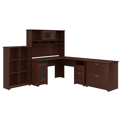 Bush Furniture Cabot L Shaped Desk With Hutch 6 Cube Organizer And Lateral File Cabinet Harvest Cherry Cab003hvc