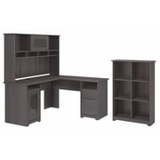 Bush Furniture Cabot L Shaped Desk with Hutch and 6 Cube Organizer, Heather Gray (CAB004HRG)