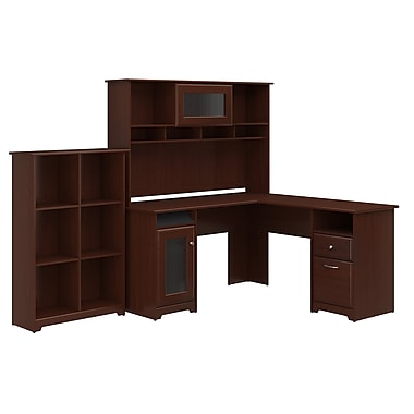Bush Furniture Cabot L Shaped Desk with Hutch and 6 Cube Organizer, Harvest Cherry (CAB004HVC)