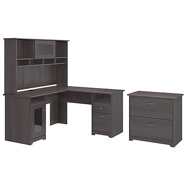 Bush Furniture Cabot L Shaped Desk With Hutch And Lateral File Cabinet Heather Grey