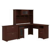 Bush Furniture Cabot L Shaped Desk with Hutch and Lateral File Cabinet, Harvest Cherry (CAB005HVC)