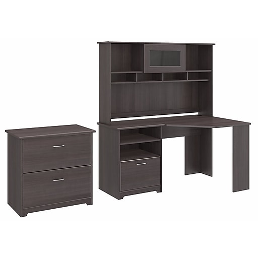 Bush Furniture Cabot Collection Corner Desk With Hutch And Lateral File Heather Gray Cab007hrg Staples