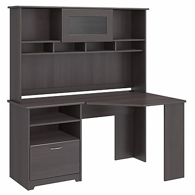 Bush Furniture Cabot Corner Desk with Hutch, Heather Gray (CAB008HRG)