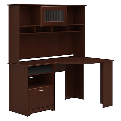 Bush Furniture Cabot Corner Desk with Hutch, Harvest Cherry (CAB008HVC)