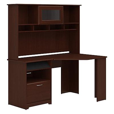 Bush Furniture Cabot Corner Desk with Hutch, Harvest Cherry (CAB008HVC)