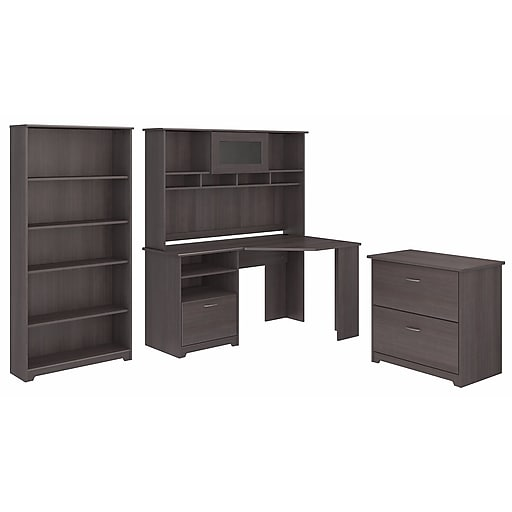 Bush Furniture Cabot Collection Corner Desk With Hutch Lateral File And 5 Shelf Bookcase Heather Gray Cab009hrg Staples