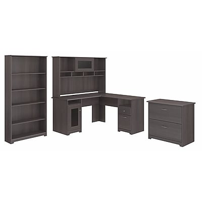 Bush Furniture Cabot L Shaped Desk with Hutch, Lateral File Cabinet and 5 Shelf Bookcase, Heather Gray (CAB010HRG)