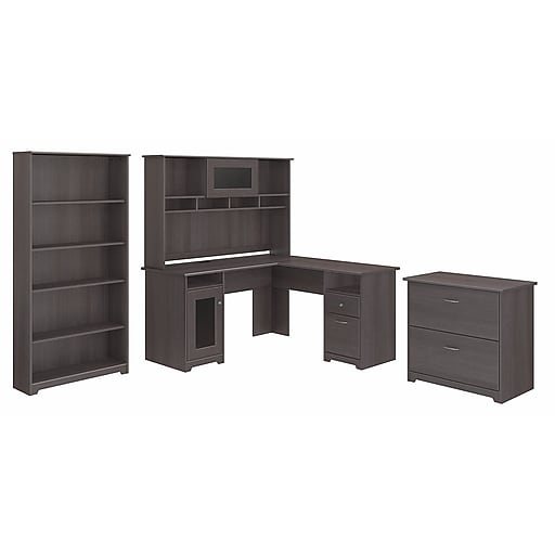 Bush Furniture Cabot Collection L Desk With Hutch Lateral File And 5 Shelf Bookcase Heather Gray Cab010hrg Staples