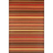 Mad Mats Stripes Outdoor Reversible Rug, Warm Brown