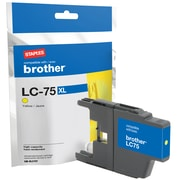 Staples® Reman Ink Cartridge, Brother LC75 Yellow, High Yield