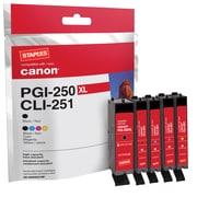 Staples Cartouche d'encre réusinée, Canon PGI-250XL/CLI-251, noir rendement élevé, CMJ rendement standard, paq./4