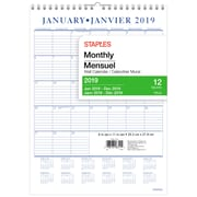 """Staples® 2019 Wall Calendar Monthly, 8"""" x 11"""", Bilingual"""