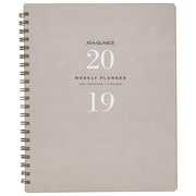 AT-A-GLANCE 2019 Signature Wirebound Weekly Planner Large, English, Grey/Olive