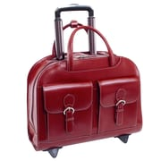 McKlein L Series, DAVIS, Genuine Cowhide Leather with Vegan Leather Trimmed, Wheeled Ladies' Laptop Briefcase, Red (96186A)