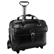 Siamod VERNAZZA, CARUGETTO, Napa Cashmere Leather, Patented Detachable -Wheeled Laptop Briefcase, Black (45295)