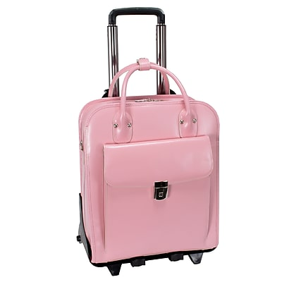McKlein W Series, LA GRANGE, Genuine Cowhide Leather,Patented Detachable -Wheeled Ladies' Laptop Briefcase, Pink (96499)