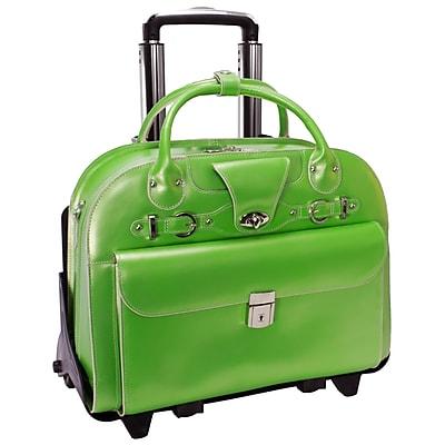 McKlein W Series, ROSEVILLE, Genuine Cowhide Leather, Checkpoint-Friendly Detachable Wheeled Laptop Briefcase, Green (96641)
