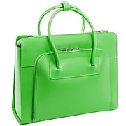 McKlein W Series, LAKE FOREST, Genuine Cowhide Leather,Ladies' Laptop Briefcase w/ Removable Sleeve, Green (94331)