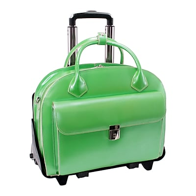 McKlein W Series, GLEN ELLYN, Genuine Cowhide Leather, Patented Detachable -Wheeled Ladies' Laptop Briefcase, Green (94361)