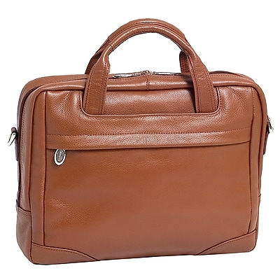 McKlein Bronzeville, Medium Laptop Briefcase, Pebble Grain Calfskin Leather, Brown (15484)