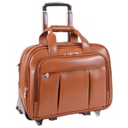 McKlein R Series, DAMEN, Top Grain Cowhide Leather, Patented Detachable -Wheeled Laptop Briefcase, Brown (80714)