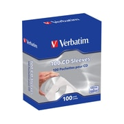 Verbatim CD/DVD Paper Sleeves with Clear Window, 100/Pack