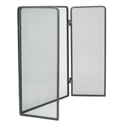3-Panel Fire-Place Screen Door-Panel with Double Bar Black Finish, Black