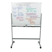 Portable Magnetic Dry-Erase Double Sided Easel White board with 360 Degree Flip Quality Board, White