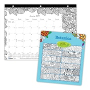 """2019 Blueline® DoodlePlan™ 12-Month Monthly Mini Coloring Desk Pad, 11"""" x 8-1/2"""", Botanica Theme, 3-Hole Punched (C2917211-19)"""