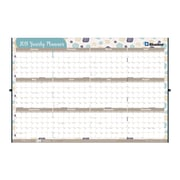 "2019 Brownline® Yearly Erasable Wall Calendar w/ Marker, Reversible, Vertical / Horizontal, 24"" x 36"",Floral-Themed (C171930-19)"