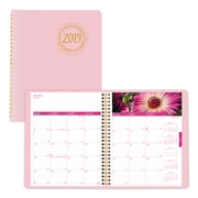 """2019 Brownline® Pink Ribbon, Breast Cancer Awareness 14-Month Monthly Planner, 8-7/8"""" x 7-1/8"""", Soft Pink Cover (CB1219.PNK-19)"""