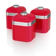 Swan Retro Set of 3 Cannisters, Red (SWKA1020RN)