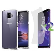 Exian Samsung Galaxy S9 2 Screen Protectors and TPU Transparent Case, Clear (S9-001)