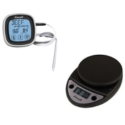 Escali Primo Digital Kitchen Scale, Chrome PLUS Touch Screen Thermometer & Timer, Black