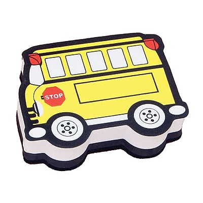 Ashley® Magnetic Whiteboard Eraser, Yellow Bus, 6 EA/BD