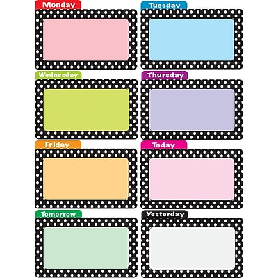 Ashley Dots File Days Of The Week Die Cut Magnetic File Card, 8/Pack