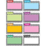"Ashley 8 1/2"" x 11"" File Days Of Week Magnetic Time Organizer, Black Chevron, 8/Pack"