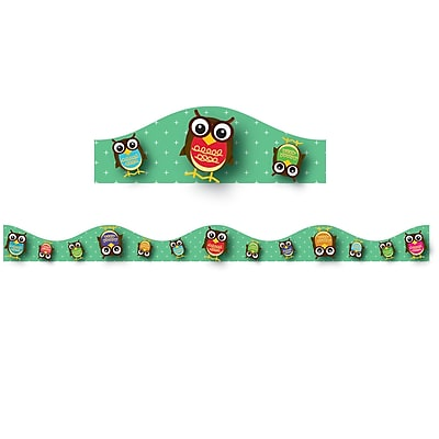 Ashley Grade Preschool-12 Magnetic Border, Owls, 12/Pack