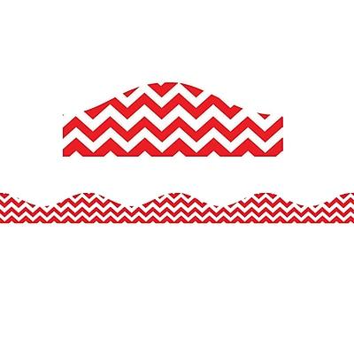Ashley Kindergarten - 12th Grade Magnetic Border, Red Chevron, 12/Pack