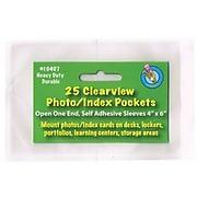 "Ashley Clear View Self-Adhesive Photo/Index Card Pocket 4"" x 6"", 4/Bundle (ASH10407)"