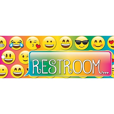 Ashley Laminated Emoji Restroom Pass, Bundle of 3 (ASH10664)