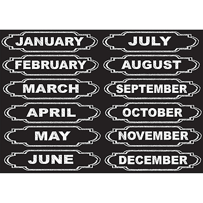 Ashley Productions Die-Cut Magnets, Chalkboard Calendar Months, 12/Pack (ASH19005)