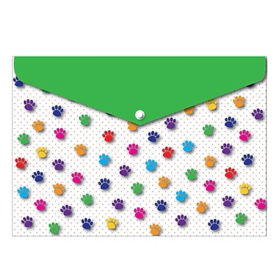 Ashley Decorated Poly Folder Color Paws, 8.5