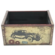 Cathay Importers Vintage Small Wood Crate with Metal Frame, Car (EC-10-2348-CAR)
