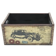 Cathay Importers Vintage Large Wood Crate with Metal Frame, Car (EC-10-2349-CAR)